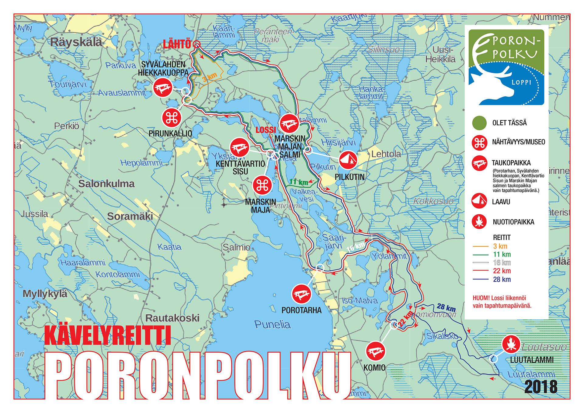 Reittikartta Ja Huoltopisteet Poronpolku